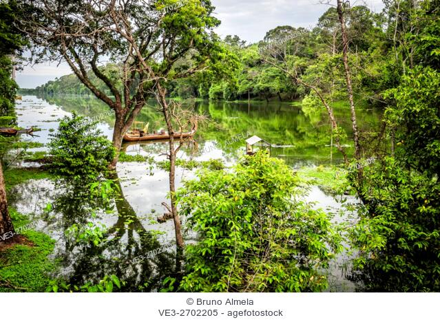 View of water channel at the south gate of Angkor Thom in Siem Reap Province, Cambodia