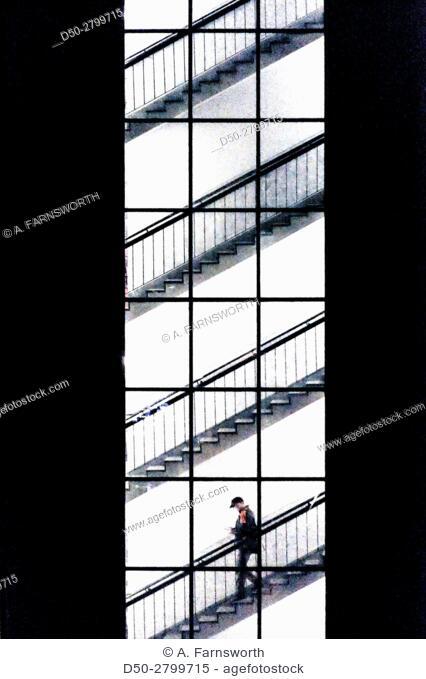 STOCKHOLM, SWEDEN Man descending staircase