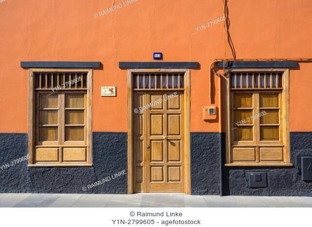 House door with windows, Puerto de la Cruz, Tenerife, Canary Islands, Spain