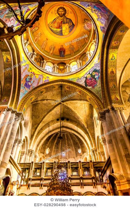 Arches Dome Crusader Church of the Holy Sepulchre Jerusalem Israel. Church expanded in 1114 to 1170 AD contains Jesus Tomb and Golgotha, Crucifixion site