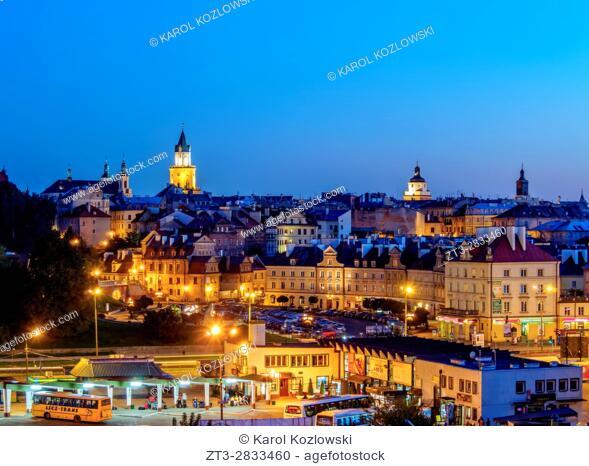 Poland, Lublin Voivodeship, City of Lublin, Old Town Skyline at twilight