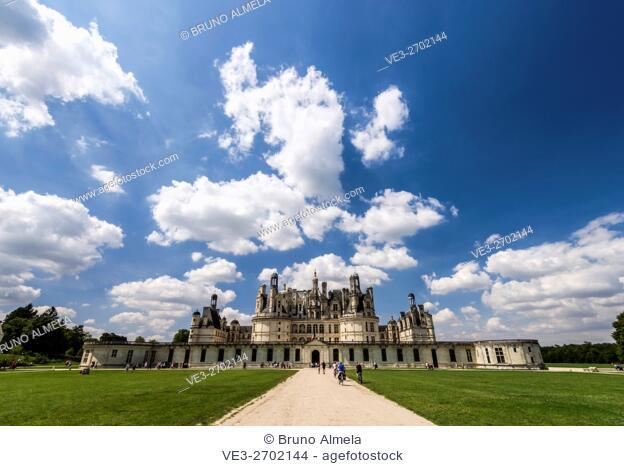 View of the royal Château de Chambord (department of Loir-et-Cher, region of Centre-Val de Loire, France)