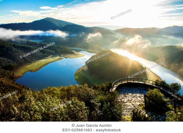 Alagon River Meander viewpoint at sunrise. This place is called The Melero and is not far from Riomalo de Abajo, Hurdes, Spain
