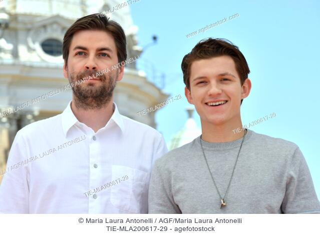 Director Jon Watts and Tom Holland during the photocall of the film Spider Man: Homecoming. Zuma terrace, Rome, Italy 20-06-2017