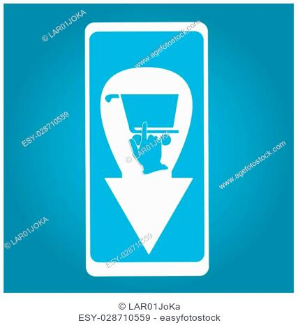 Isolated cellphone with an add to cart icon on a blue background