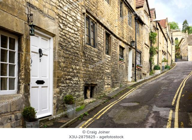 Cottages on Coppice Hill in the historic town of Bradford on Avon, Wiltshire, England