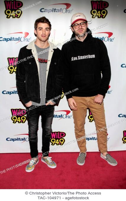 SAN JOSE, CA - DECEMBER 1: Recording artist (L-R) Andrew Taggart and Alex Pall of the music duo The Chainsmokers attend WiLD 94