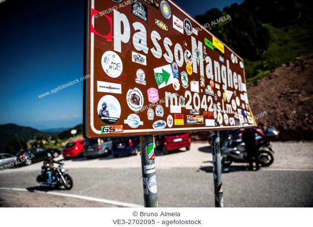 On the top of Passo Manghen. Passo Manghen is a classic bike routes and it is located in the Lagorai Group of the Dolomite Mountain