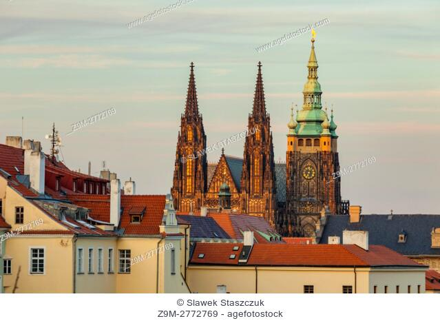 Sunset at Hradcany, Prague, Czech Republic. St Vitus cathedral dominates the skyline