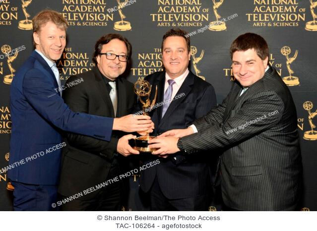 Christan Greieich, Laszlo Gaspar, Chris Rovtar and Stefan Jenzowsky of Siemens accecpt the award at the 68th Technology and Engineering Emmys on January 7th...