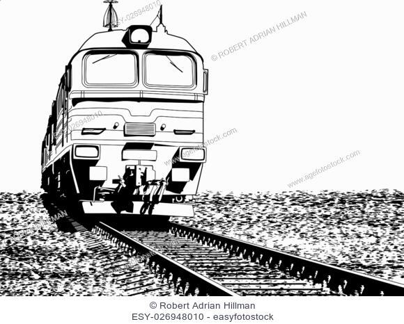 Vector illustration of a Russian locomotive with ground grunge as a removable separate layer
