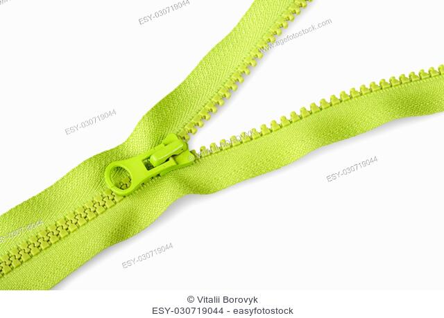 Partially unbuttoned fastener diagonally isolated on white background
