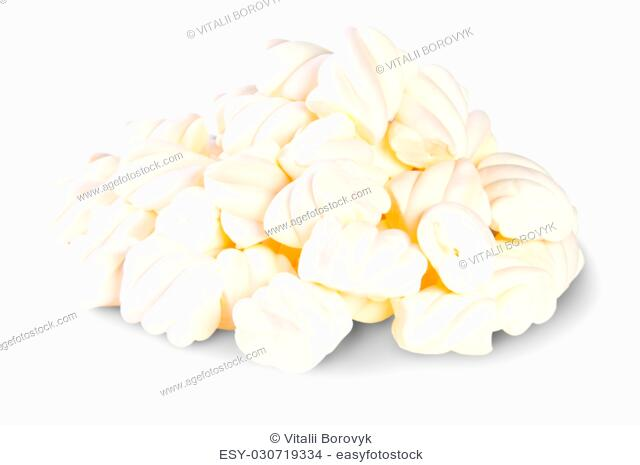 Pile The Spiral Marshmallows Isolated On White Background