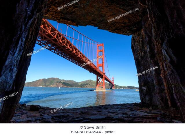 Rocks framing Golden Gate Bridge, San Francisco, California, United States