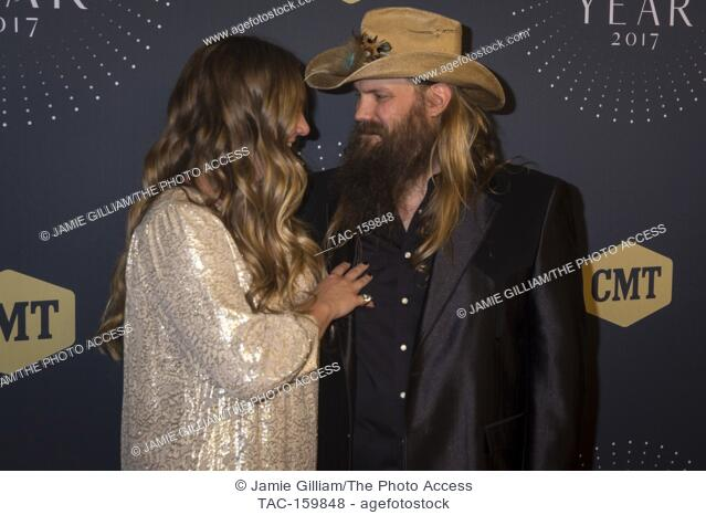 NASHVILLE, TN - Morgane and Chris Stapleton arrive on the red carpet at the 2017 CMT Artists of the Year at the Schermerhorn Symphony Center in Nashville, TN