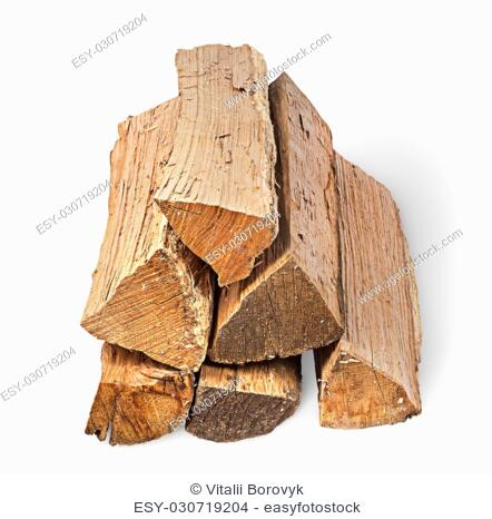 Pile of firewood sight along isolated on white background