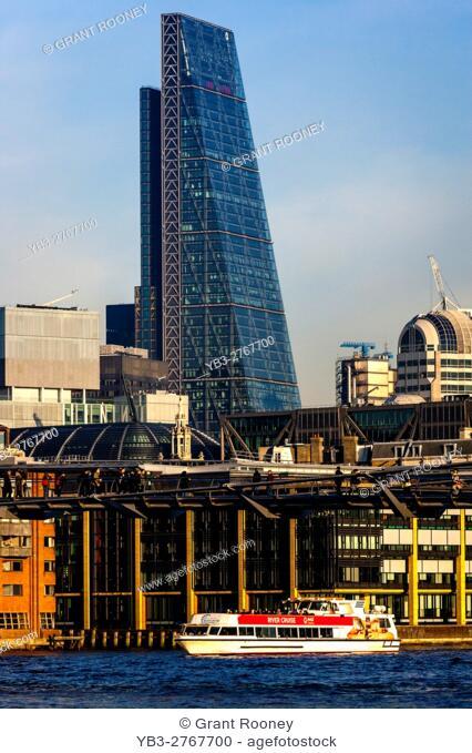 The Millennium Bridge and City Of London Skyline, London, England