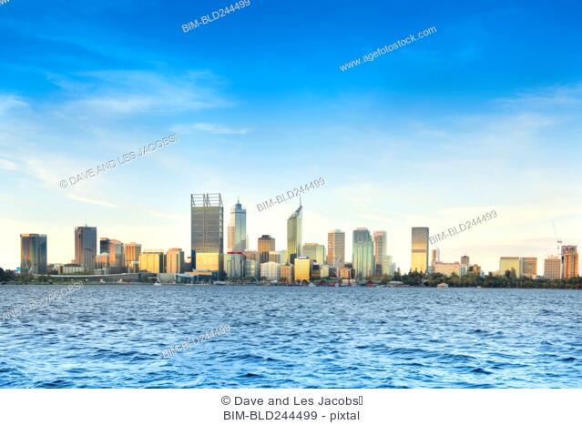 City skyline near ocean, Perth, Western Australia, Australia