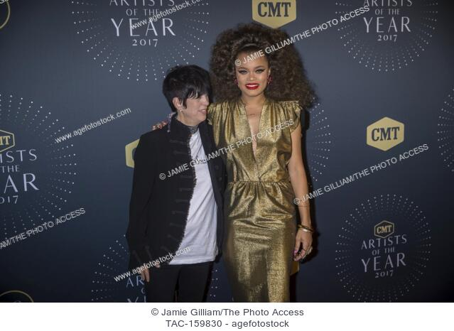 NASHVILLE, TN - Dianne Warren and Andra Day arrive on the red carpet at the 2017 CMT Artists of the Year at the Schermerhorn Symphony Center in Nashville, TN