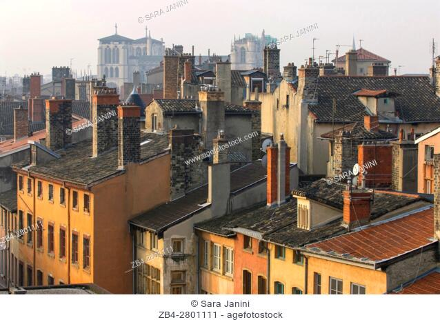 Views of the roofs and houses of the old Town UNESCO World Heritage Site and view of Notre-Dame de Fourvière, Lyon, France, Europe