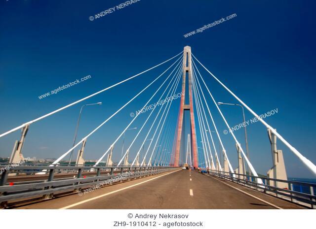 Bridge Vladivostok-Russky Island  Far East, Primorsky Krai, Russian Federation