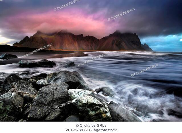 Landscape at sunset, Stokksnes, Eastern Iceland, Europe