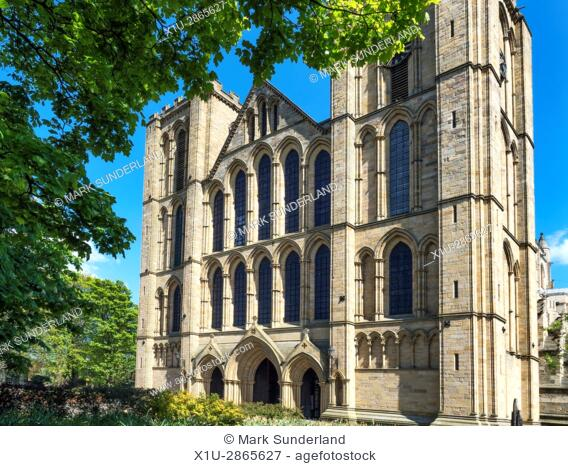 The West Front of Ripon Cathedral in Spring Ripon North Yorkshire England