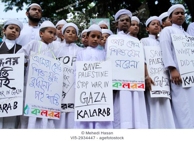 Bangladeshi madrasa students made a protest against Israel's offensive into Gaza, they made human chain in front of National Press Club Dhaka