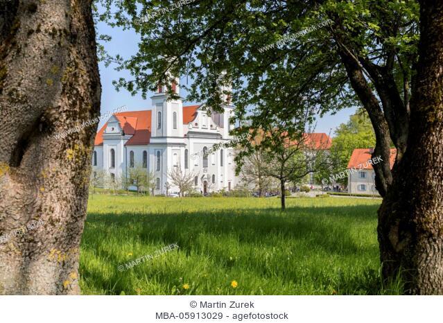 Germany, Bavaria, Allgäu, Irsee, hut, apple tree, garden, blossoming ...