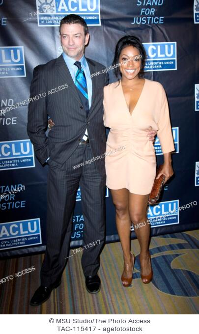 Keith Allan and Kellita Smith attend 2015 ACLU of Southern California Bill Of Rights Dinner at Beverly Wilshire Hotel on November 8, 2015 in Beverly Hills