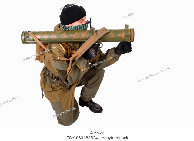 fighter with RPG rocket launcher isolated on white
