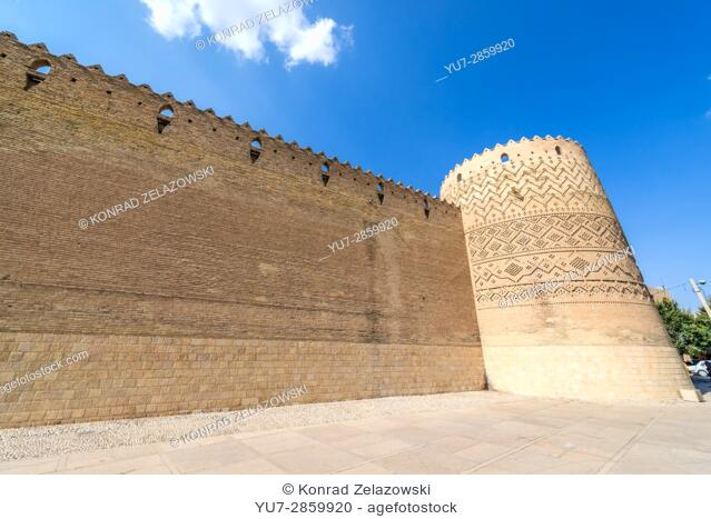 Walls of Castle of Karim Khan citadel (Arg-e Karim Khan) build during Zand dynasty in Shiraz city, capital of Fars Province in Iran