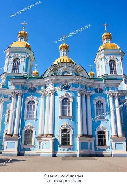 Baroque St Nicholas' Cathedral, Sennaya Ploshchad, St Petersburg, Russia