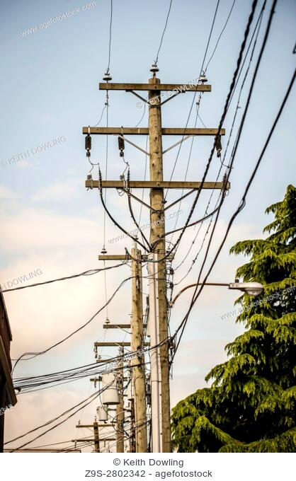 Utility Power Lines in alley, Vancouver City, BC Canada