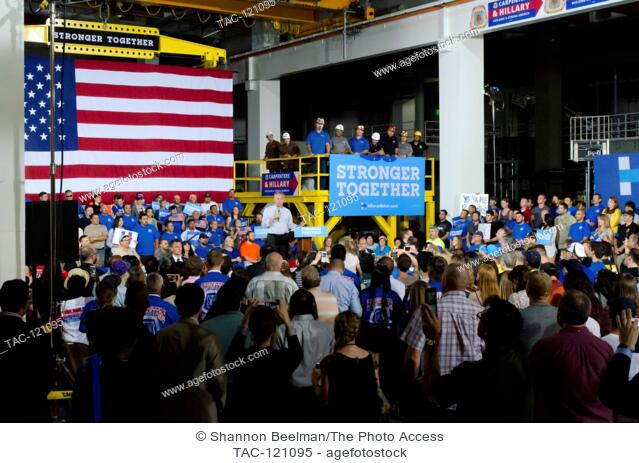 Senator Tim Kaine speaks to the crowd at the Nevada Democratic Rally on October 6th, 2016 at the UBC International Training Center in Las Vegas, NV