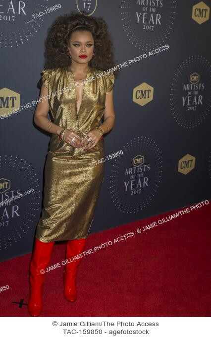 NASHVILLE, TN - Andra Day arrives on the red carpet at the 2017 CMT Artists of the Year at the Schermerhorn Symphony Center in Nashville, TN