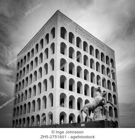The Palazzo della Civiltà Italiana, also known as the Palazzo della Civiltà del Lavoro or simply the Colosseo Quadrato (Square Colosseum)