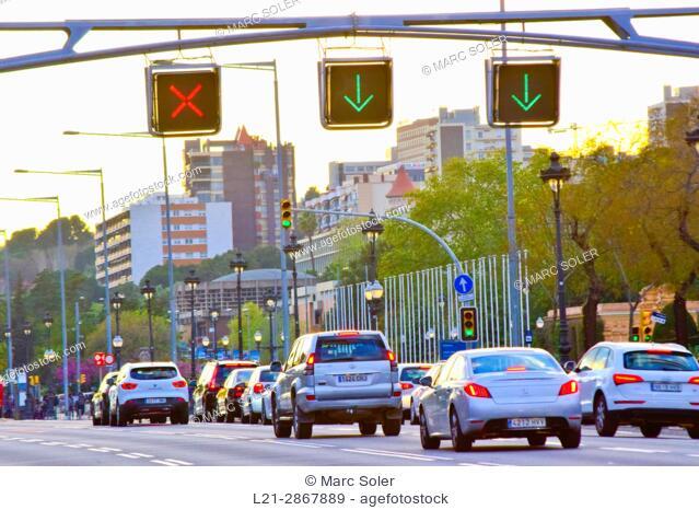 Traffic at dusk. Avinguda Diagonal, Barcelona, Catalonia, Spain