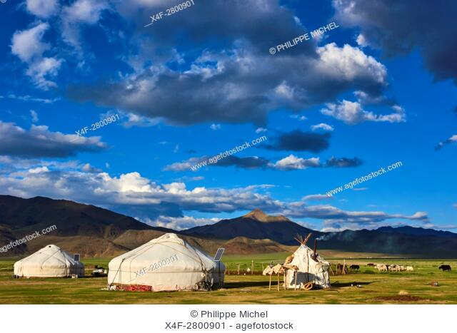 Mongolia, Bayan-Ulgii province, western Mongolia, nomad camp of Kazakh people in the steppe