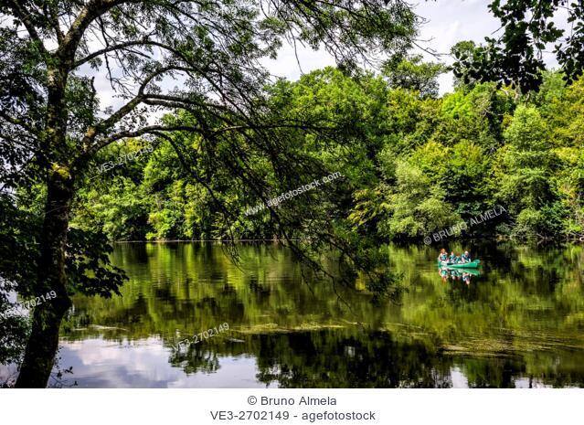 Kayaking in Le Cher River near the Chenonceau castle (department of Indre-et-Loire, region of Centre-Val de Loire, France)