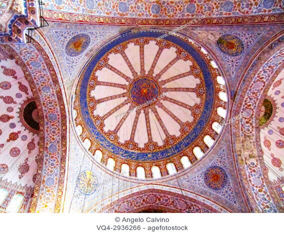 Sultan Ahmed Mosque, Blue Mosque interior, Turkey, Istanbul,
