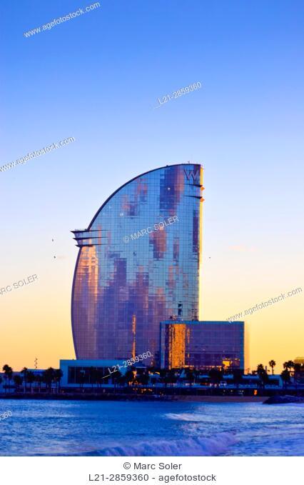 Hotel W Barcelona, aka Hotel Vela designed by architect Ricardo Bofill. Barcelona, Catalonia, Spain