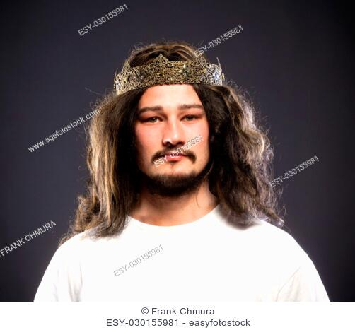Portrait of a King with Crown and Dark Hair