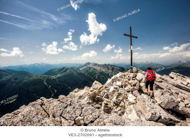 On the top of Rosetta Peak in dolomites Pale di San Martino Group, this group belongs to the Paneveggio and Pale di San Martino Park (Autonomous Province of...