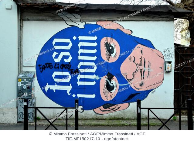 """Street art in the Pigneto district, Fanfulla da Lodi street, murale by Omino 71 """"""""Io so i nomi"""""""", dedicated to Pier Paolo Pasolini ,Rome, ITALY-15-02-2017"""