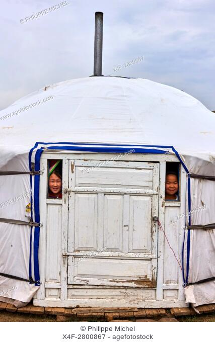 Mongolia, Khentii province, nomadic children in their yurt