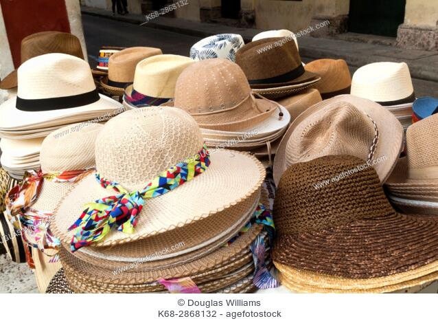 Hat for sale in the street in the historic old city, Cartagena, Colombia, South America