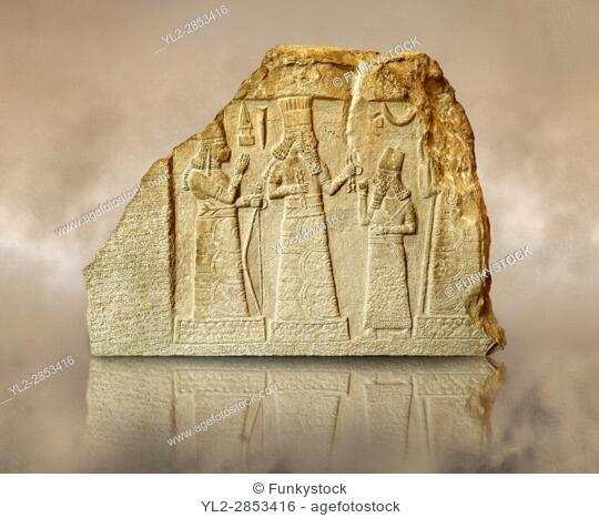 8th Cent. B. C Babylonian limestone funereal stele with inscription & relief sculpture of the governor of Mari and Suhi praying to the Gods from the Palace...