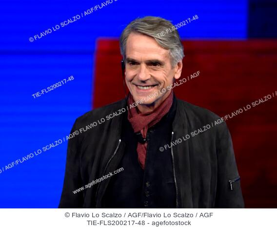 Jeremy Irons guest at tv show Che tempo che fa ,Milan, ITALY-19-02-2017