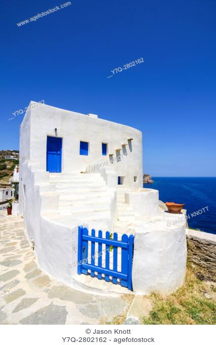 White washed house overlooking the Aegean Sea on Sifnos Island, Cyclades, Greece
